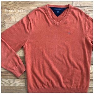 ⬇️55 Tommy Hilfiger Orange V Neck Sweater XL